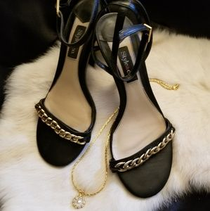Sexy Black Leather Style&co. Heels w/Chain Detail